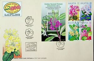 MALAYSIA 2000 STAMP WEEK: RHODODENDRON FLOWERS SHEET+ BLOCK OF 4 USED ON FDC