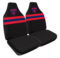 AFL Front Car Seat Covers - Melbourne Demons - Set Of 2 One Size Fits All