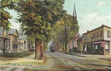 Danielson CT , postcard, Main Street with trolley, dated 1908