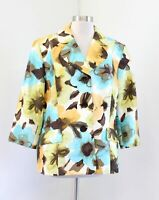 NWT Kasper Yellow Brown Blue Abstract Floral Print Blazer Suit Jacket Size 18