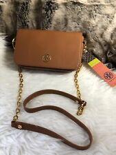 NWT TORY BURCH Robinson Chain Strap CROSSBODY In Brown saffiano Leather +receipt