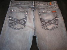 7 For All Mankind Bootcut Jeans Mens Sz 36 X 27 Blue Distressed w Stretch USA