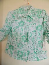 Together Blouse Top White Green Floral  Shirt 3/4 Sleeve  Womens 16W NWT
