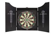 HAN'S DELTA Professional Bristle Dartboard Cabinet Set, Includes 6 darts, Black