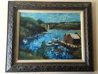 "Sue Etem Rare Original Oil Painting Seascape on Borad, Signed, Framed, 24"" x 18"""