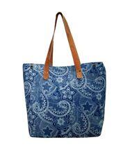 New Women Cotton Shopping Tote Carrying Shoulder Eco Reusable Bag Indigo Blue Bg
