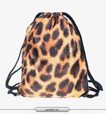 Punk Backpack Bag Panther fur Print Canvas School Women Rucksack Fashion Girl