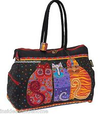 Laurel Burch Cat Large TRAVEL Tote Feline Friends Overnight Beach Sport New