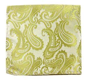 New Brand Q Men's  micro fiber Pocket Square Hankie Only paisley Lime Green Prom