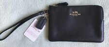 AUTHENTIC Coach Crossgrain Leather Corner Zip Wallet / Wristlet (Black)