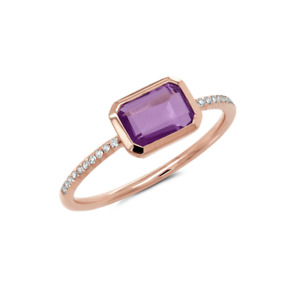 1.10tcw 14k Rose Gold Natural Horizontal Amethyst Diamond Statement Bezel Ring