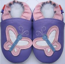 soft sole leather Toddler shoes butterfly lilac  3-4y US 10-11 slippers Mini
