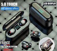 Ecouteurs Bluetooth sans fil V5.0 F9 TWS Led Stéréo Casque Microphone iOSAndroid