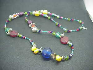 Treska Colorful Statement Necklace Funky Beaded Eclectic Vintage Bohemian Long