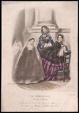 VICTORIAN antique 1860s Parisian Fashion Print Plate HAND COLOR communion black