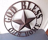 """46"""" GOD BLESS OUR HOME METAL WALL ART RUSTIC COPPER WESTERN HOME DECOR COUNTRY"""