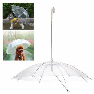 Pet Umbrella Built In Leash Dog Puppy Dry Walking Sleet Snow Rain Clear Plastic