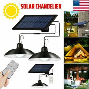 Solar Panel Powered Lights Pendant Ceiling Lamp Indoor Outdoor Garden Shed Barn~