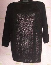 FANG black soft knit METALLIC PRINT tee blouse $62 Medium top