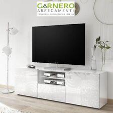 Mobile porta tv MIRO bianco laccato lucido 2 ante 1 cassetto serigrafato sala