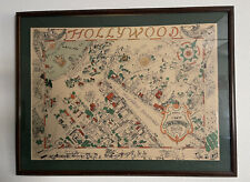 """Map Of Hollywood Drawing/Painting From """"Pacific Dining Car"""" Restaurant In L.A."""