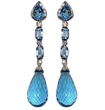 18K White Gold Diamond diamond Blue Topaz Briolette Cocktail Earrings Cert