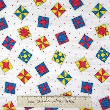 Riverwoods Fabric - Teacher's Pet Quilt Block Toss White Kathy Brown Cotton YARD
