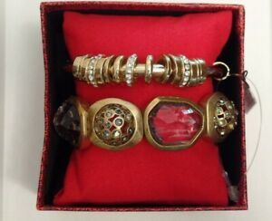 Chico's Roselle Stretch Bracelet /Lola Bangle Chunky Glass Crystal Set MSRP $74