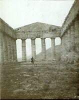 Italia Sicilia Segeste Tempio Greco c1910, Foto - Vintage Placca Lente VR5L2