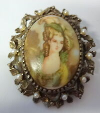 Vintage Signed Limoges France Victorian Lady Pearls Hand Paint Pin Brooch