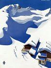 "Vintage Illustrated Travel Poster CANVAS PRINT Austria Ski Lodge 24""X18"""