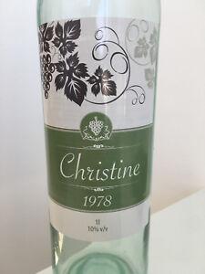 6x Personalised Wine Bottle Birthday Wedding Celebration Adhesive Labels