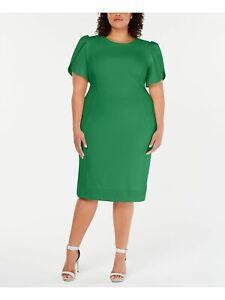 CALVIN KLEIN Womens Green Petal Sleeve Knee Length Pencil Dress Plus 22W