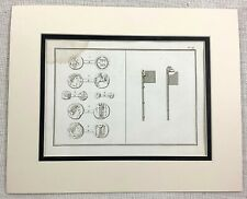1821 Antique Print Ancient Greek Coins Currency Bronze Weaponry Axe Staff