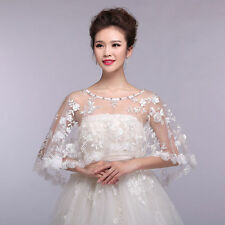 Women's Wedding Bridal Embroidery Lace Stoles Shawl Rhinestones Cape Shrug Wrap