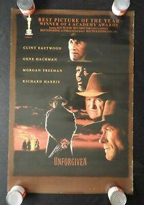 "1992 Clint Eastwood ""UNFORGIVEN"" 27"" x 41"" Poster Anna Thomson Gene Hackman NICE"
