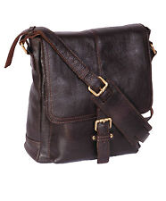 Mens Real LEATHER Crossbody Messenger Bag Brown Exclusive Ipad Casual Flight BAG