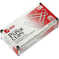 Acco, Paper Clips, Jumbo, Smooth, 100 Count, 10 Pack, 1000 Total
