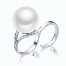 Silver tone Faux pearl two finger ring punk cocktail ring fashion jewelry R1099