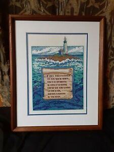 Folk Art Lighthouse Needlepoint Embroidery Vintage Art Psalm Psalms Framed Ocean