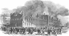 CANADA. Remains of the houses of Assembly at Montreal, antique print, 1849