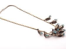 Vintage 1940's Czech filigree floral metal blue glass rhinestone necklace