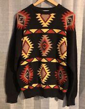 Mens Vintage PARKER OF VIENNA Black Orange Yellow Aztec Sweater ~ Large