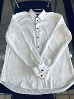 Men's Armani Exchange A|X Long Sleeve Shirt Button Down Slim Fit Size XL White