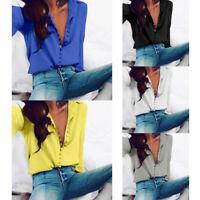Elegante Mujer Solapa Manga Larga Botón Camisa Blusa Informal Holgado Suéter