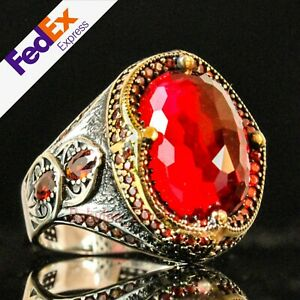 Red Ruby Stone 925 Sterling Silver Luxury Turkish Handmade Mens Ring All Sizes