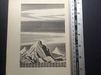 1930s Art Deco Woodcut print by Rockwell Kent of mountains and ocean