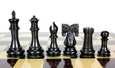"Ebony wood Twin Knight Staunton Wooden Chess Set Pieces 4.6"" - Wooden Box"
