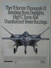 7/1991 PUB ROSEMOUNT AEROSPACE AIRCRAFT PRODUCTS SENSORS SYSTEMS ATF FIGHTER AD