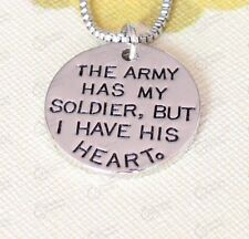 THE ARMY HAS MY SOLDIER BUT I HAVE HIS HEART' NECKLACE PENDANT SILVER TONE